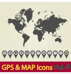 World map icon 4 vector