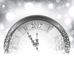 2017 new year midnight snowing background with vector