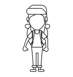 young girl traveler with backpack thin line vector image