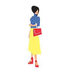 Elegant fashion girl in skirt and blouse vector