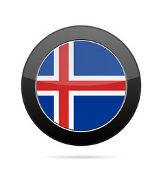 flag of iceland shiny black round button vector image