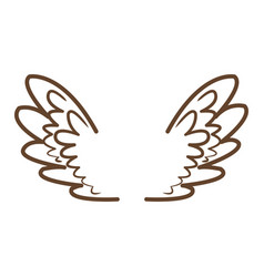 Wings feathers angel bird freedom icon vector
