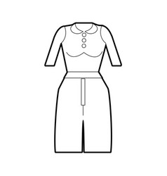 Line casual blouse and pants cloth style vector