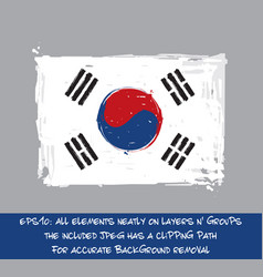 South korean flat flag - artistic brush strokes vector