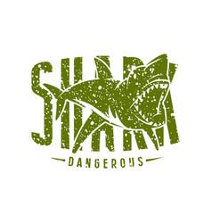 Shark dangerous emblem vector