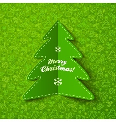 Green paper Christmas tree greeting card with sign vector image