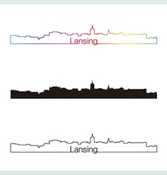 Lansing skyline linear style with rainbow vector