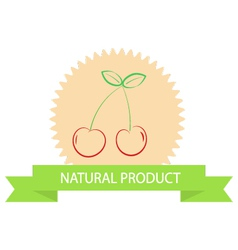 Sticker with cherries natural products vector