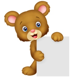 Funny bear holding blank sign vector image