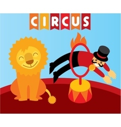 Jumping lion in circus animal trainer and lion vector