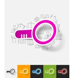 Magnifier paper sticker with hand drawn elements vector