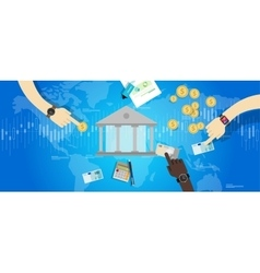 International central bank banking industry market vector