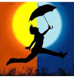 Girl and umbrella vector