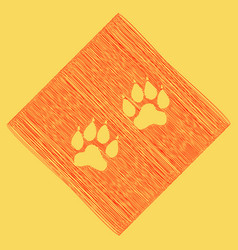Animal tracks sign red scribble icon vector