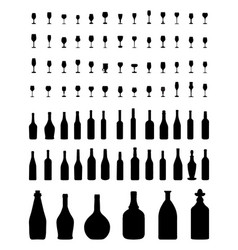 Bowls bottles and glasses vector