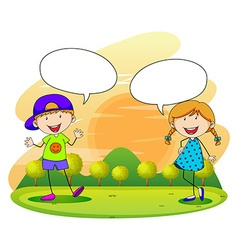 Boy and girl talking in the park vector image
