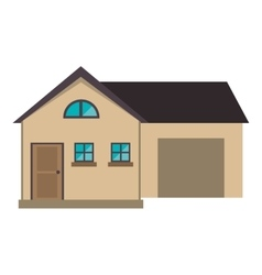Cartoon house modern style with garage vector