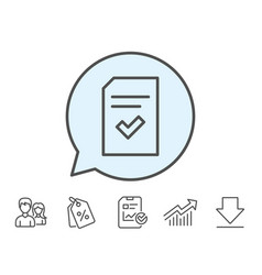 Checked document line icon file sign vector