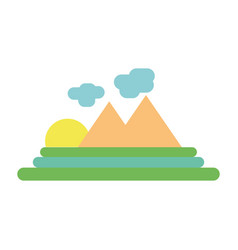 Cloud raining with mountain and sun vector