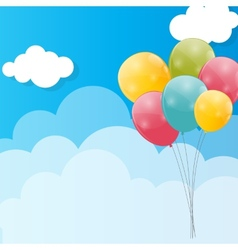 Color Glossy Balloons Against Blu Sky Background vector image