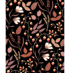 Dark autumn floral seamless pattern fall autumn vector