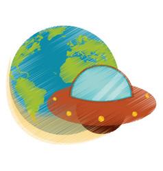 drawing earth world ufo image vector image vector image