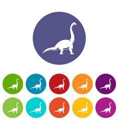 elasmosaurine dinosaur icons set flat vector image