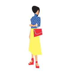 Elegant fashion girl in skirt and blouse vector