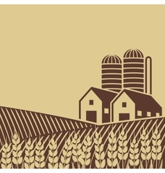 Farm in field vector