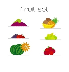 Foods market fruits flat icons set vector image
