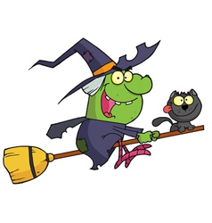 Halloween Witch And Cat Flying On A Broom Stick vector image vector image