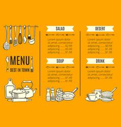 Menu template of the best restaurant vector