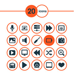 Music icons set collection of backward zoom in vector