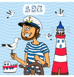 Nautical background of a captain at the wheel vector