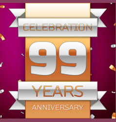 ninety nine years anniversary celebration design vector image vector image