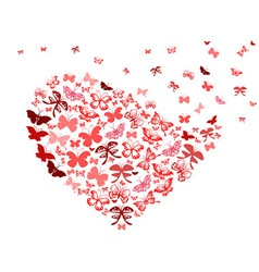 red butterfly flying heart vector image