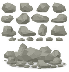 rock stone cartoon in isometric 3d flat style set vector image vector image