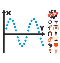 Sine plot icon with dating bonus vector