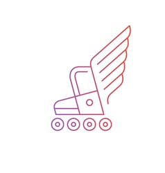 Skating activities roller boot with wings logo vector image vector image