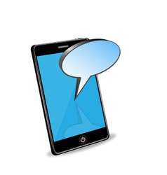 smart phone with speech bubble vector image vector image