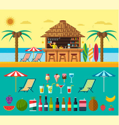 Tropical beach with a bar on the beach vector