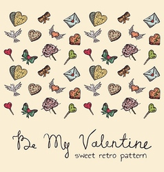 Valentine vintage pattern vector image vector image