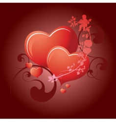 valentines day 2 hearts vector image