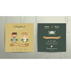 Wedding invitation card cartoon bride and groom vector image
