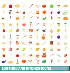 100 food and kitchen icons set cartoon style vector image vector image