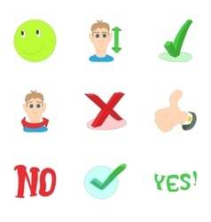 Choice failure icons set cartoon style vector