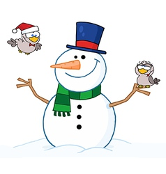 Friendly snowman with a two cute birds vector