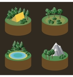 Set of isometric icons outdoor recreation vector