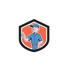 Handyman repairman thumbs up cartoon vector