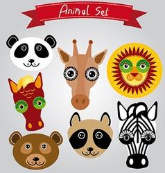 animal set panda giraffe lion horse bear raccoon vector image